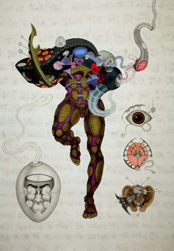 Ajay Dhandre, Cyborg Interface Device - C26, Watercolour On Paper, 84'' X 60'', 2013