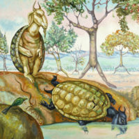 Gopikirshna, Goat Turtles of The Moving Forest, Oil On Canvas, 23'' x 19'', 2013