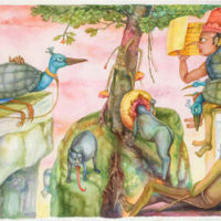 Gopikrishna, Man Reading Horoscope, Watercolor on Paper, 22''x 36 '', 2009