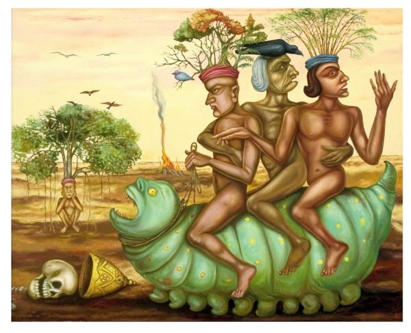 Gopikrishna, Travelling Father & Sons, Oil On Canvas, 54'' X 66'', 2008