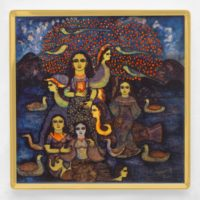 Jayasri Burman, Saraswati, Ceramic Platter, Limited Edition Of 50, 12'' X 12''