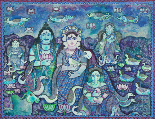Jayasri Burman, Shiva Parboti, Water Colour Pen Ink on Paper, 55'' X 72'', 2014