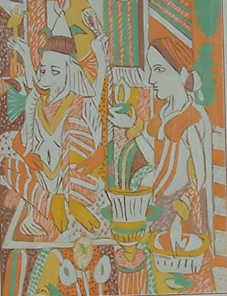 KG Subramanyan, Still Life with Icons, Gouache on Paper, 30'' x 22''