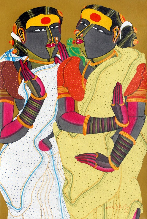 T. Vaikuntam, Two Ladies with Parrot, Acrylic on Canvas, 30'' X 20'', 2013