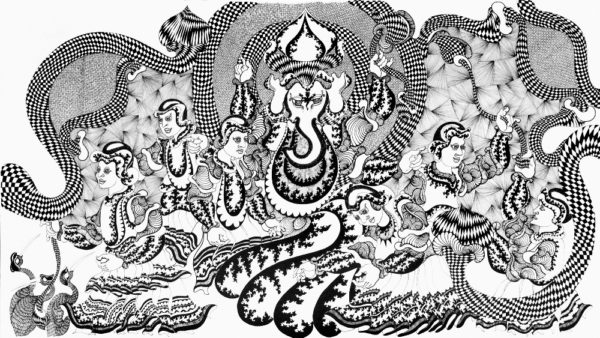 Nandan Purkayastha,The Rides Of Faith, 'Ganesha', Pen & Ink On Paper, 33'' X 60'', 2014.