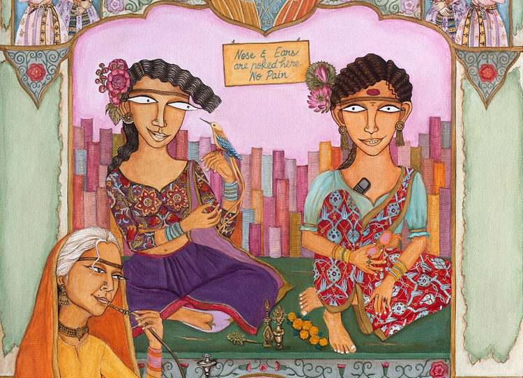Nilofer Suleman, 'Chaand Bibiki Chudiyaan', Acrylic on Canvas, 29'' x 22'', 2015