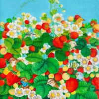 Maite Delteil, The Strawberry Field, Oil on canvas, 11'' x 9'', 2016